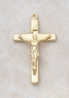 """22kt. Gold over Sterling Silver, Gold Crucifix Cross with 24"""" Chain, 1 3/4"""" H CR001 http://www.amazon.com/dp/B0074Q19QW/ref=cm_sw_r_pi_dp_2fSewb0STYZKE"""