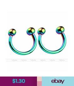 Body Jewelry 2Pc 16G 8Mm Rainbow Steel Horseshoe Bar Lip Nose Septum Captive Ring Piercing #ebay #Fashion