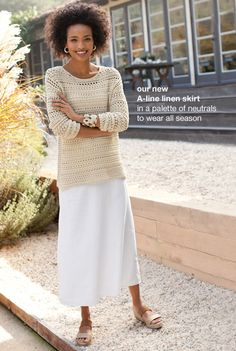 open-stitch cotton pullover, perfect tank, linen A-line skirt