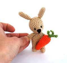 $31.92 BUNNY TOY with carrot, #crochetrabbit, Easter gift, tiny bunny, #miniature Easter doll, stuffed rabbit toy, #plushbunnydoll, welcome spring