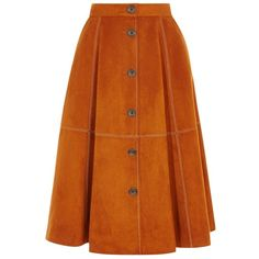 Karen Millen Faux Suede A-line Skirt (72 BHD) ❤ liked on Polyvore featuring skirts, orange skirt, a line skirt, karen millen, knee length a line skirt and flare skirt