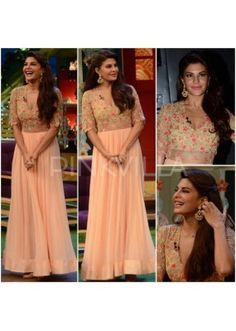 Shop bollywood actress Jacqueline's fashionable dresses collection, sarees, lehenga cholis, anarkali dress, gowns online with good quality and various designs at Fashion Ka Fatka – the Latest collectoin of Jacqueline Fernandez collection. Fashion News, Girl Fashion, Fashion Dresses, Fashion Tag, Peach Gown, Anarkali Dress, Lehenga Choli, Gowns Online, Indian Designer Wear