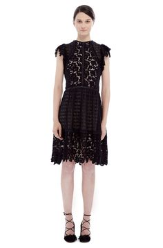 Short Sleeve Lace Mix Dress
