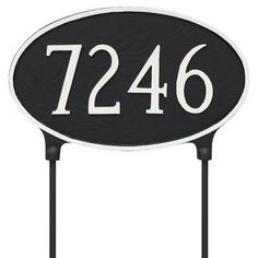 Montague Metal Products Double Sided Lawn Classic Oval Standard Address Plaque Finish: Black / White