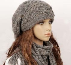 Wool Handmade Hat and Scarf Set (Two Pieces)