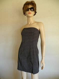 Classy #Boho #Retro #Gray #Plaid Wiggle #Strapless Curve Hugging #MiniDress Sz 7 EXC #Dress #Wiggle #Pencilskirt #Casual