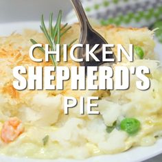 Chicken Shepherd's Pie - Not your mama's Shepherd Pie! This version is made with a creamy curry sauce that is out of this world. Topped with a heavenly layer of mashed potatoes and Parmesan cheese, this comfort food recipe will not last long. Mmm good. #chicken #shepherdspie