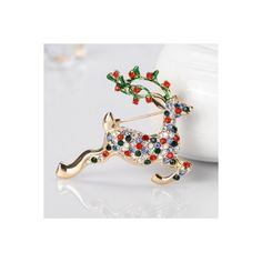 Sequins Decoration Reindeer Patterned Brooch Accessory (120.565 IDR) ❤ liked on Polyvore featuring jewelry, brooches, golden, christmas jewelry, golden jewelry, sequin jewelry and christmas brooches