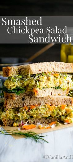 Tangy Smashed Chickpea Salad Sandwich with dill and spicy mustard makes a delicious sandwich or salad for a week-day lunch, weekend picnic or potluck! Vegan + Gluten Free | Recipe | Vegetarian