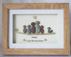 Pebble Picture, Pebble Art framed Picture- Family, Family of 5 and Cat, Family and 3 Children with Cat - Family - A Gift that lasts forever