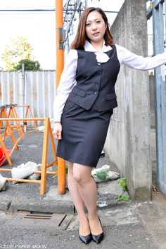 Cuff me in front, please, ma'am. don't humiliate me by cuffing me up behind my back. Skirt Suit, Dress Skirt, Peplum Dress, Asian Fashion, Girl Fashion, Womens Fashion, Suits For Women, Sexy Women, Office Ladies