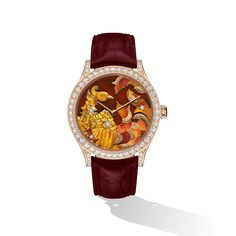 Extraordinary Dials Collection, Midnight Constellation Phoenix Watch. Pink, yellow and white gold, diamonds, carnelian, enamel, automatic mechanical movement