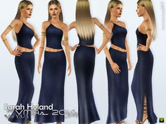 Asymmetrical dress, slightly longer at the back, with cut-outs inspired by Sarah Hyland at the MTV VMAs 2014. Found in TSR Category 'Sims 3 Female Clothing'
