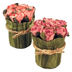 Bridal Candy Flower Pot - Cute rustic flowers wrapped with a country style rope #wedding #reception #decoration $4