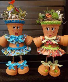 Flower Pot Art, Clay Flower Pots, Terracotta Flower Pots, Flower Pot Crafts, Clay Pots, Decorated Flower Pots, Painted Flower Pots, Painted Pots, Flower Pot People