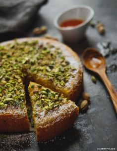 Print our free orange almond cake recipe to make a gorgeously delicious gluten free dessert that combines moist cake with a crunchy pistachio topping