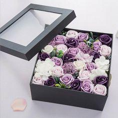 One Box Valentine's Present Scented Flower Soap Gift - Purple Rose Soap Valentines Presents, Valentine Box, Flower Box Gift, Flower Boxes, Rosen Box, Forever Rose, Preserved Roses, Rose Soap, Rose Arrangements
