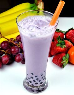 Taro Bubble Tea! if you haven't had this you're missing out on life. my favorite beverage EVER (Try Classic Said-Gon by Play it Again Sports)