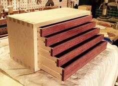 Wooden tool box, drawers, hand crafted