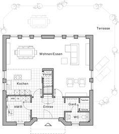 EG; Wohnen/Speisen  48,87 m²     Kochen  13,20 m²     Entrée  7,89 m²     Garderobe  4,40 m²     WC  2,94 m²     Vorrat  1,47 m²     Hauswirtschaftsraum  8,34 m²     Überdachter Hauseingang  0,86 m²   Gesamt 87,97 m²
