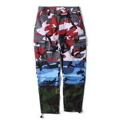 Wholesale Clothing Supplier Multicolor Camouflage Pants Multicolour pants colors: red, blue and camouflage Pantalon Streetwear, Style Streetwear, Streetwear Fashion, Cheap Cargo Pants, Cargo Pants Men, Sweatpants Style, Jogger Sweatpants, Camouflage Pants, Camo Pants