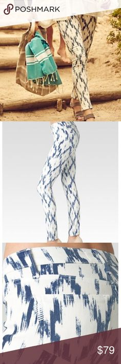 """Paige Jeans Verdugo Ultra Skinny Alexandria Print A super stretchy, mid rise, ultra skinny jean that is slim from the leg down to the ankle, hugging every curve along the way. This pair stands out thanks to a stylish blue ikat print layered over a crisp white wash. It's made from a special fiber to create super soft denim that moves with your body but doesn't stretch out. It offers high stretch and moves with you all day without sacrificing comfort. Front Rise: 8 1/8"""" Inseam: 30"""" waist 26""""…"""