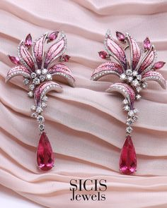 Each woman was made to sparkle. Lily Earrings are inspired by the intriguing flower, embellished by pink shades of micromosaic, diamonds and rubellites 3d Wall Panels, Designer Earrings, Luxury Jewelry, Beautiful Flowers, Jewelery, Diamonds, White Gold, Sparkle, Lily