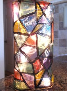 Stained Glass Wine Bottle Lamp by songbird58 on Etsy, $25.99