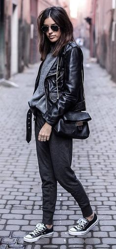 street style obsession: leather jacket + top + bag + pants + sneakers