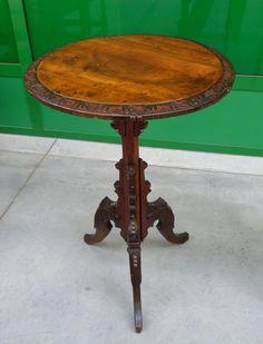 Tavolino da fumo '800 Napoleone III bretone in rovere massello