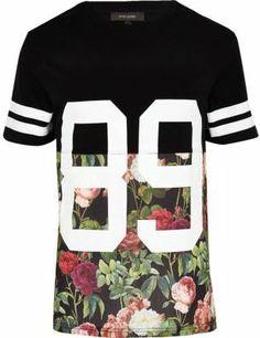 River Island Black floral 89 print t-shirt on shopstyle.co.uk