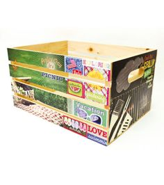 Bring home this simple, sturdy and highly durable wooden storage box, perfect for your next home decor craft project. Featuring a classic slatted design and rustic look, this box is compact, yet spaci Easy Diy Crafts, Diy Craft Projects, Decor Crafts, Crafts For Kids, Wood Projects, Unfinished Wood Crates, Wooden Crates, Wood Crate Diy, Decoupage