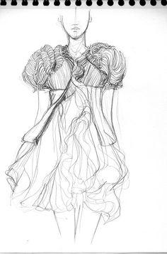 dessin, croquis de mode, dessin au crayon, esquisse, robe de Yiqing Yin, dessin de vêtements