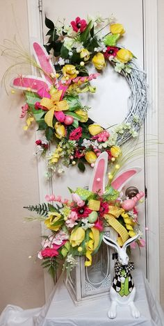 Easter Bunny Wreath, Easter Bunny Lantern Swag, Easter, Wreath, Lantern Swag, Easter Set, Grapevine Wreath, Easter Swag, Bunny Ear Decor by SouthTXCreations on Etsy