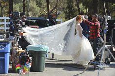 Behind the scenes with Grey's Anatomy! Sarah Drew aka April Kepner has her wedding veil set up!
