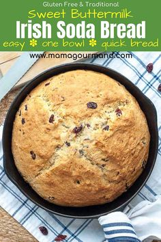 World's Best Irish Soda Bread Recipe! Sweet Irish Soda Bread has a golden, crunchy, sweet crust with a moist, buttermilk interior, and tangy cranberries dotted throughout. This easy quick bread recipe mixes up in minutes! Irish Desserts, Irish Recipes, Scottish Recipes, Asian Desserts, Sweet Recipes, Quick Bread Recipes, Gluten Free Recipes, Cooking Recipes, Gluten Free Irish Soda Bread Recipe