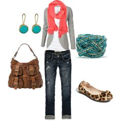 Lovely pop with coral scarf! Casual weekend outfit & leopard flats are great touch Fashion Mode, Look Fashion, Womens Fashion, Fall Fashion, Fashion Shoes, Fashion Outfits, Fashion Trends, Nike Outfits, Casual Outfits
