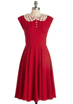 Dancing Date Dress in Rouge. What type of ditty will play next? #red #modcloth