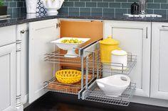 We've Got You Cornered With These Cabinet Storage Solutionsev-a-Shelf, corner cabinet, corner kitchen storage, cabinetry organizer