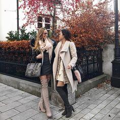 Girls compete with each other, woman empower one another! 🙌🏻✨👑 #girlpower #lauriilyy #lyhoang #lymademoiselle #citytalkly #bestfriends #overknees #stuartweitzman