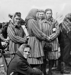 Inmates of Ravensbrück after being liberated by the Red Army. Ravensbrück was located only 90kms from Berlin and had been established in May 1939 as a women's camp. Eventually it became one the largest camps in Germany and one of the most notorious.