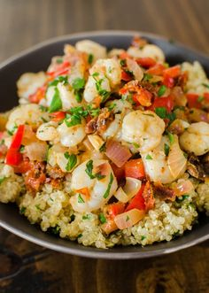 Quick Dinner Recipe: Saucy Sautéed Shrimp over Lemon Quinoa Recipes from The Kitchn Tried this. Quinoa is too lemony for me. Fish Recipes, Seafood Recipes, Cooking Recipes, Healthy Recipes, Cooking Tips, Prawn Recipes, Recipies, Quick Dinner Recipes, Quick Meals