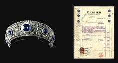 The actual bill from Cartier for the sapphire tiara of Grand Duchess Maria Pavolovna, the Elder, of Russia, in 1909. http://www.pinterest.com/pin/532972937125916958/