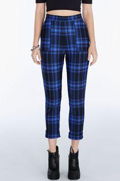 Tartan Punk Blue Cuffed Pants ($110AUD) by BlackMilk Clothing