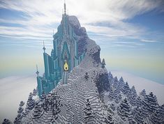 Frozen Elsas Ice Castle Minecraft World Save Disney Minecraft, Minecraft Bauwerke, Amazing Minecraft, Minecraft Construction, Minecraft Blueprints, Minecraft Designs, Minecraft Creations, How To Play Minecraft, Minecraft Crafts