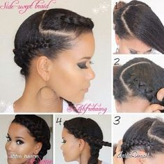 Cute Protective Hairstyles For Short Relaxed Hair Short Relaxed Hairstyles, Protective Hairstyles For Natural Hair, Natural Hair Updo, Braided Hairstyles, Natural Hair Styles, Cabello Afro Natural, Pelo Natural, Natural Hair Transitioning, Transitioning Hairstyles