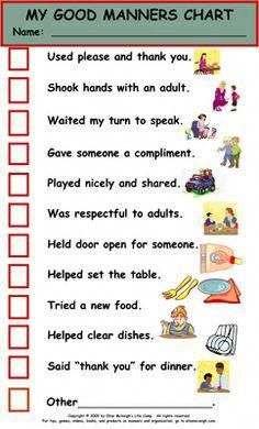 Free Printable Table Manners Chart Manners Chart More Girls
