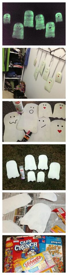 DIY Glow in the Dark Ghosts from Cereal Boxes with #krylon #glowz