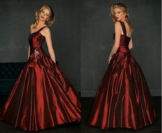 Elegant One Shoulder Ball Gown Taffeta and Satin Evening Gown Party Dress Evening Dress
