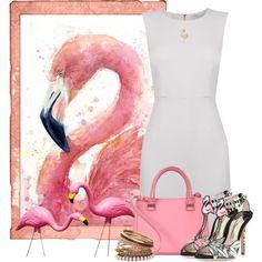 Flamingo Love by cassandra-cafone-wright on Polyvore featuring moda, Diane Von Furstenberg, Sophia Webster, Victoria Beckham, Miss Selfridge and B. Brilliant